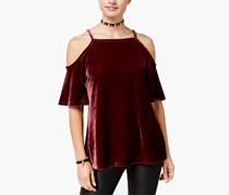 Ultra Flirt Juniors Velvet Cold-Shoulder Top, Dark Maroon