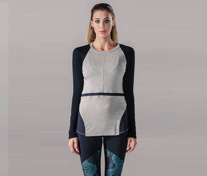 Raglan Pullover Top, Heather Gray/Black