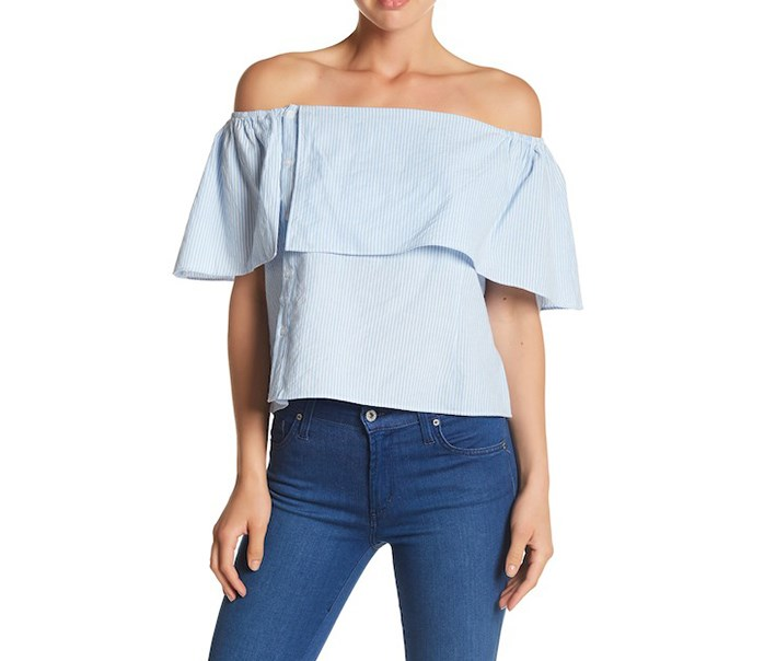 Women's Tori Off-the-Shoulder Blouse, Blue/White