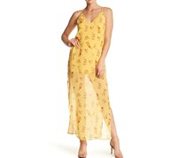 Walter Baker Women's V-Neck Crisscross Back Floral Dress, Yellow