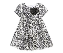 Marmellata Baby Girl's Leopard Dress, Black/White