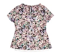 Aqua Girls' Floral Print Top, Black/Pink