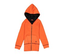 Tuta Girl's Faux Fur Lining Hooded Jacket, Tangerine