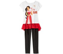 Disney Little Girl's Elena Tunic and Leggings Set, Red/Grey