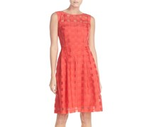 Ellen Tracy Women's Windowpane Check Fit & Flare Dress, Coral