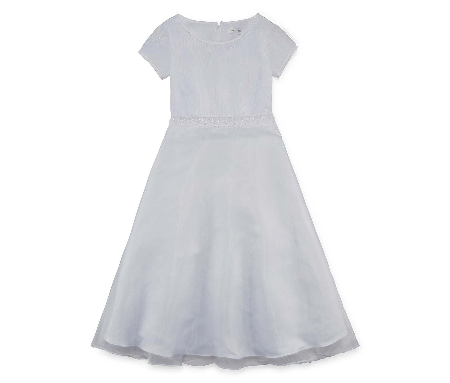 Lavender By Us Angels Communion Dress Short Sleeve Party Dress, White