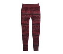 Pink Rose Snowflake Sweater Leggings, Burgundy/Black