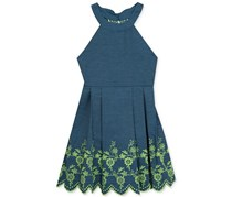 Rare Editions Girl's Denim Fit & Flare Cotton Dress, Blue/Lime Green