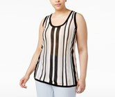 Anne Klein Plus Size Striped Knit Shell Tank Top, Oyster Shell Combo