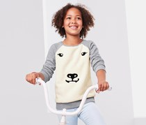 Girls Sweatshirt With Plush Polar Bear, Grey/Off White