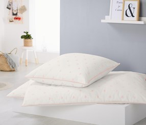 Percale Duvet Set, 135 x 200 cm, White/Pink
