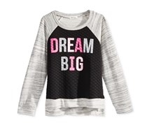 Monteau Girl's Quilted Dream Graphic Sweat Top, Black/Grey