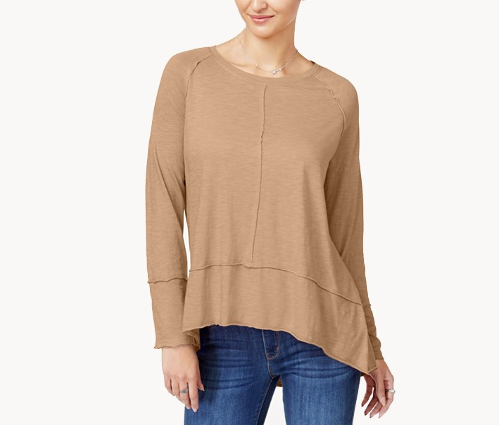 Cotton High-Low Top, Natural Blush