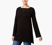 Style & Co. Lace-Trim Sweater Tunic, Deep Black