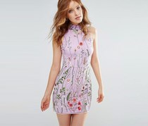 Rd & Koko High Neck Floral Embroidered Shift Dress, Lilac