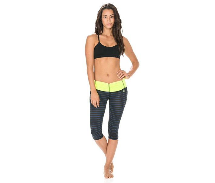 Women's Paige Capri Leggings, Black/Neon/Blue
