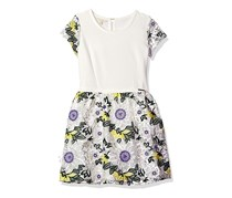 Guess Girls' Big Applique Floral Dress, Flowers Yellow/Purple