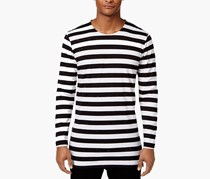 Jaywalker Mens Stripe Extended-Hem Shirt, Black/White