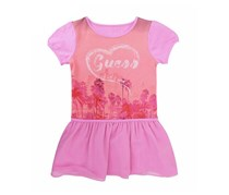 Guess Girls LOGO Print Stitching Pleated Short Sleeve Dress, Lilac