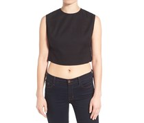 Kendall + Kylie Pierced Detail Cropped Shirt, Black