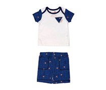 Guess Toddler Boy's Short Sleeve And Pant's, White/Blue