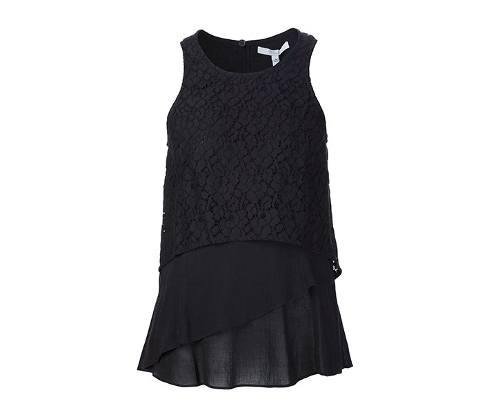 Crosby Lace Layered Top, Black