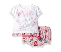 Baby Girls' Set Sleeve Floral T-Shirt And Shorts, White/Pink