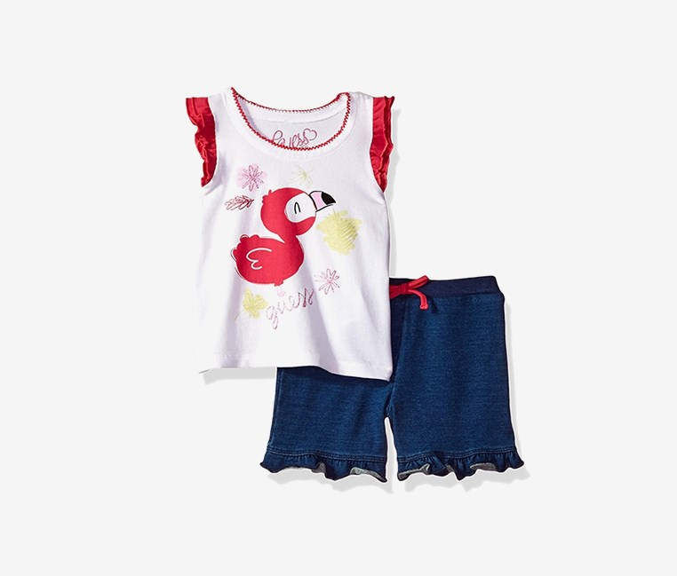 Baby Girls' Set-Sleeveless T-Shirt and Shorts, Blue/White