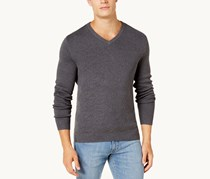 Club Room Men's V-Neck Pima Cotton Sweater, Charcoal Heather