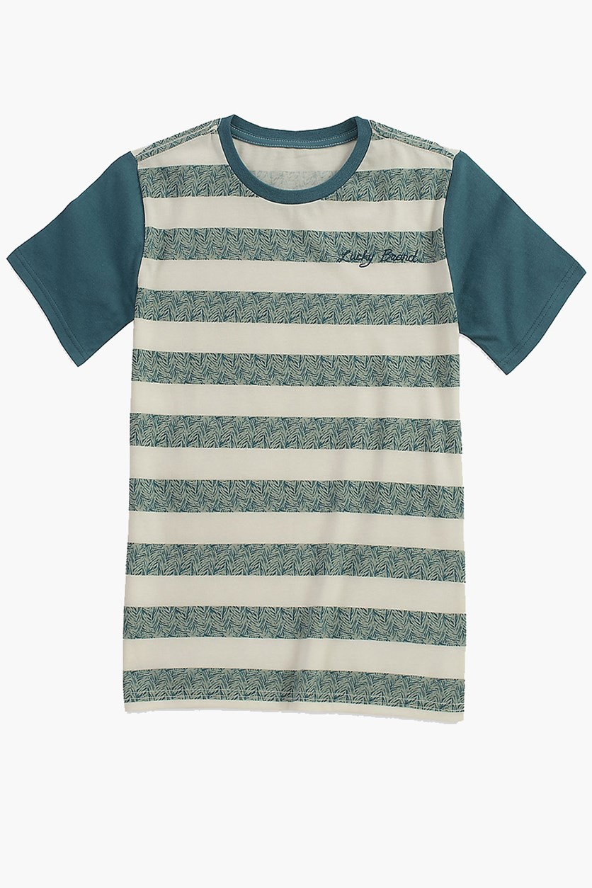 Little Boys Stripe Screen Print Tee, Mineral Blue