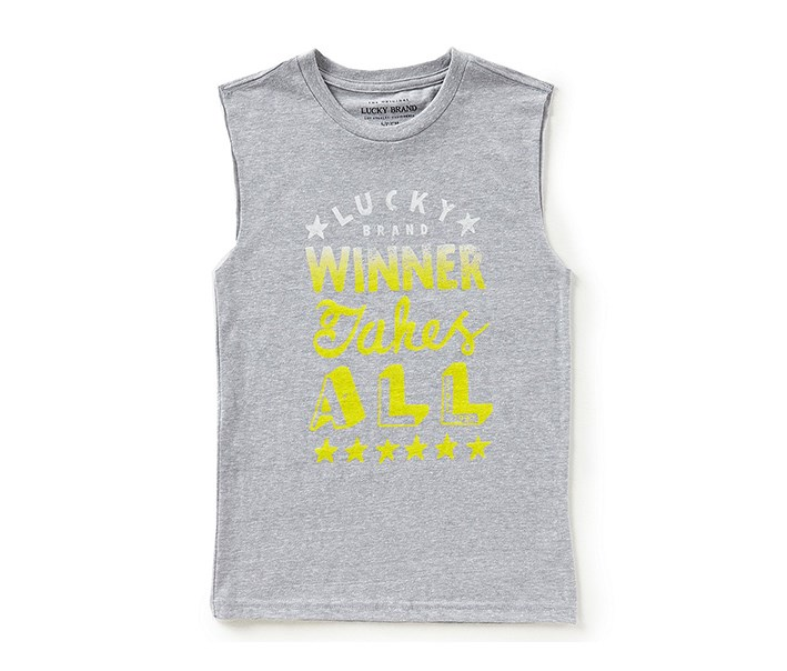 Little Boys Winner Take All Muscle Tee, Grey Heather