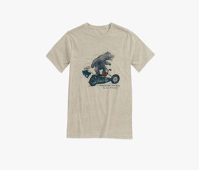 Lucky Brand Little Boys Surfin Moto Bear Tee, Oatmeal Heather