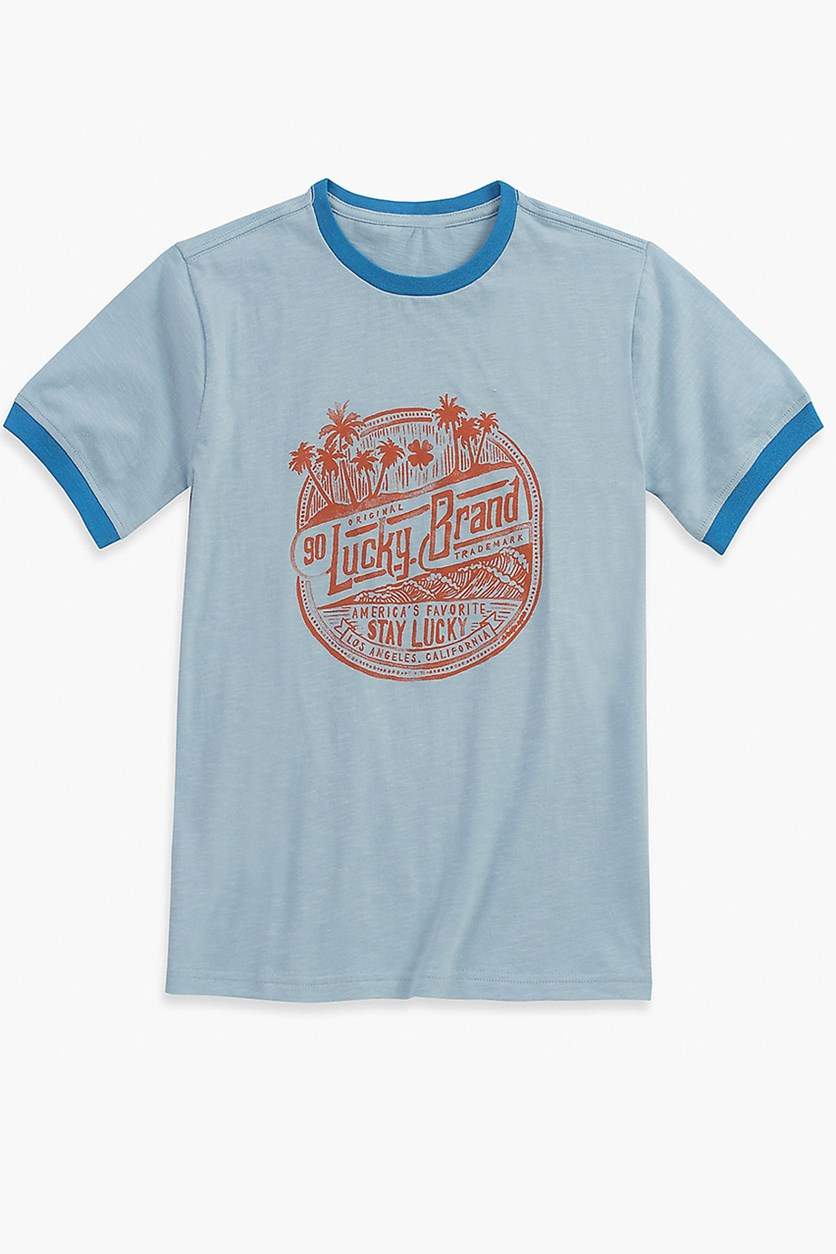 Little Boys Stamped Ringer Tee, Placid Blue