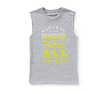 Lucky Brand Boys Winner Take All Muscle Tee, Grey Heather