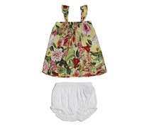 Guess Baby Girls Floral Dress With Diaper Cover, Green Combo