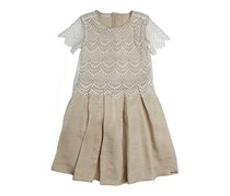 Girls Embelished Dress, Beige/White