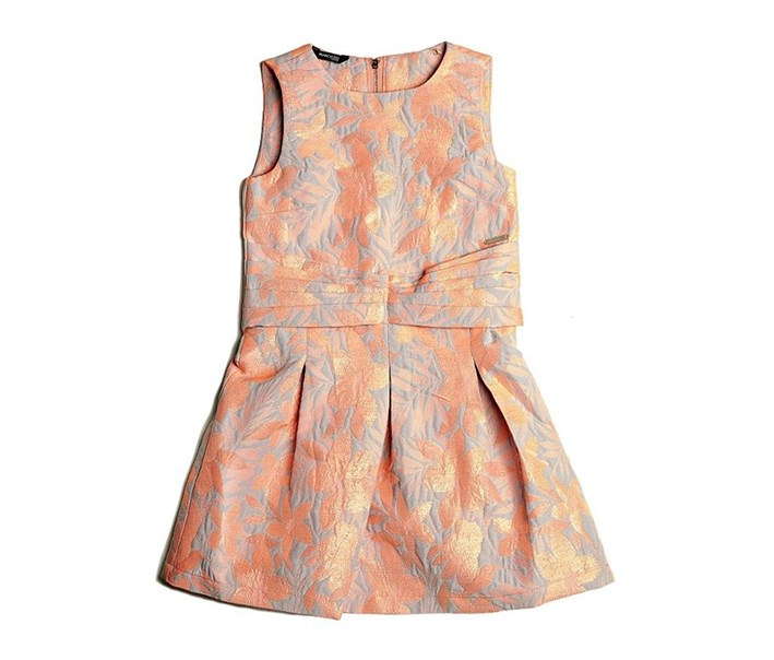 Girls Jacquard Dress, Bright Coral/Light Blue