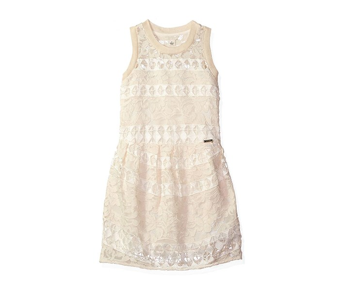 Girl Crochet Lace Sleeveless Dress, Whipped Cream