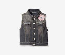 Guess Kids Girls Denim Vest, Grey Light Stone Wash