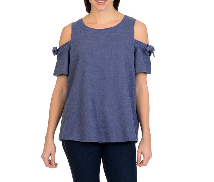 Larry Levine Cold Shoulder Top, Blind Blue