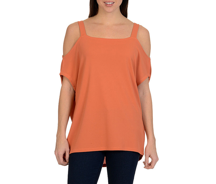 Larry Levine Cold Shoulder Top, Apricot Brandy
