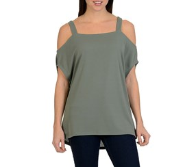 Larry Levine Cold Shoulder Top, Agave Green