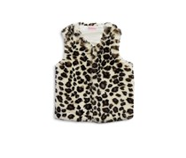 Design History Animal Spot Faux Fur Vest, Leopard