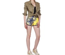 Guess Women's Animal Printed Short, Yellow