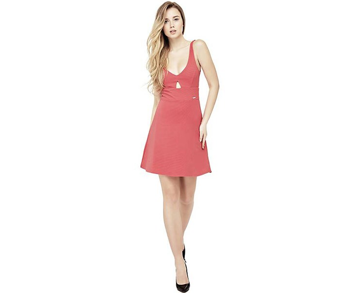Women's Front Keyhole Dress, Medium Pink