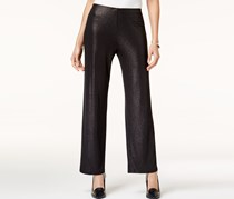 Alfani Petite Metallic Wide-Leg Pants Deep, Black