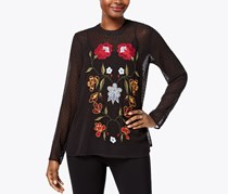 Olivia & Grace Embroidered Swiss Dot Tunic, Black