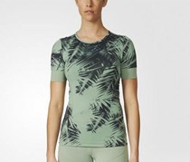 Adidas Run Palm Print Tee, Spring Green
