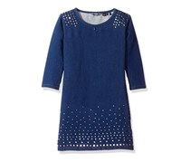 Kids Girls Long Sleeve Studded Knit Denim Dress, Blue