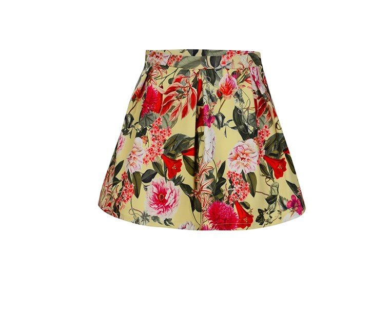 Toddlers Girls Floral Print Pleated Skirt, Yellow/Green